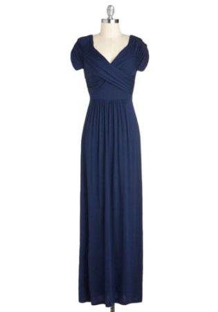 Long navy blue bridesmaid dress