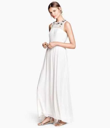 Long white bridesmaid dress