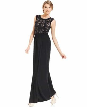 Long dress with lace bodice