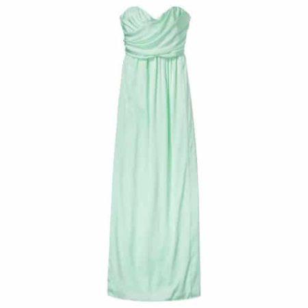 Mint green, strapless bridesmaid dress