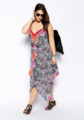 ASOS CURVE Scarf Dress In Fluro Animal Print