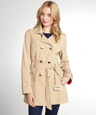 Calvin Klein Khaki Double Breasted Belted Trench