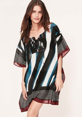 LOFT Beach Border Print Swimsuit Cover Up