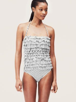 LOFT Beach Seahorse Print Tiered Ruffle One Piece Swimsuit