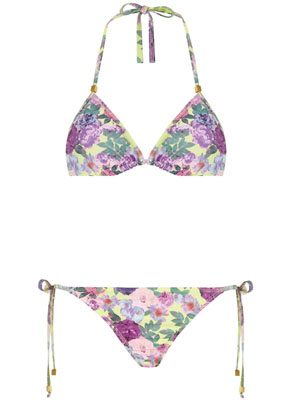 Lime Floral Triangle Bikini Top And Matching Bottoms