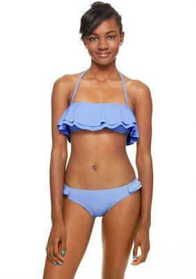 Ruffle Bandeau & Ruffle Hipster Solid Ruffle Bandeau Bikini Top