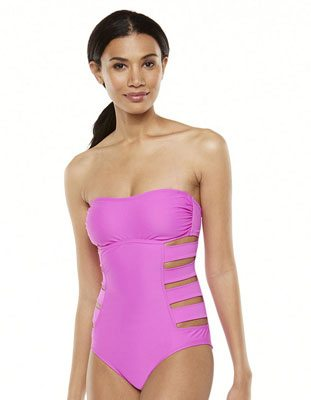 Sessa Solid Cut-Out Bandeau One-Piece Swimsuit