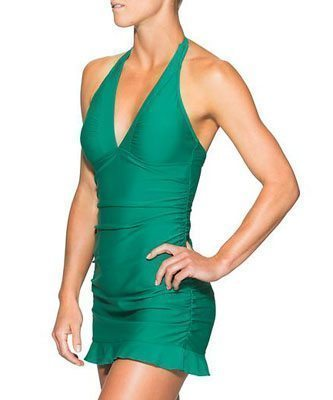 Shirrendipity Halter Swim Dress