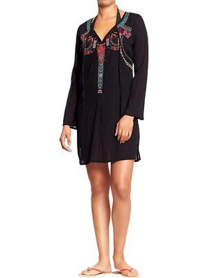 Women's Embroidered Gauze Cover-Ups