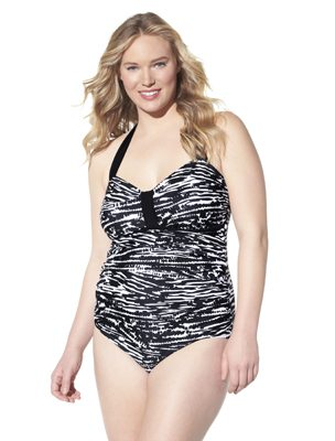 Women's Plus-Size Bandeau One-Piece Swimsuit