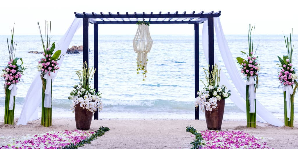 Beach wedding scene