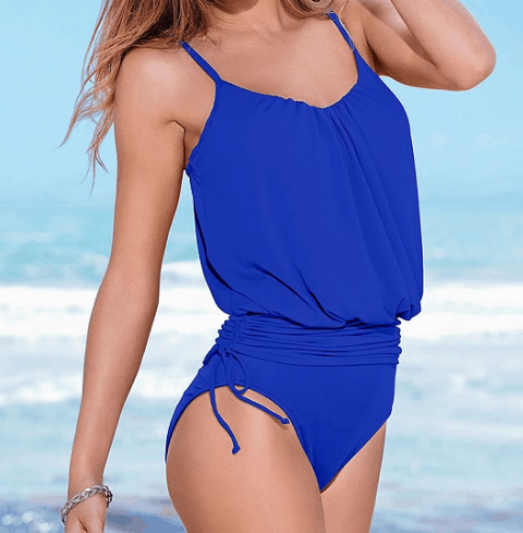 Royal blue one-piece swimsuit