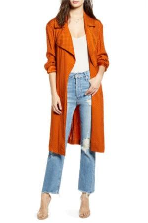 Burnt orange trench coat