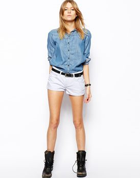 ASOS Easy Denim Short in White