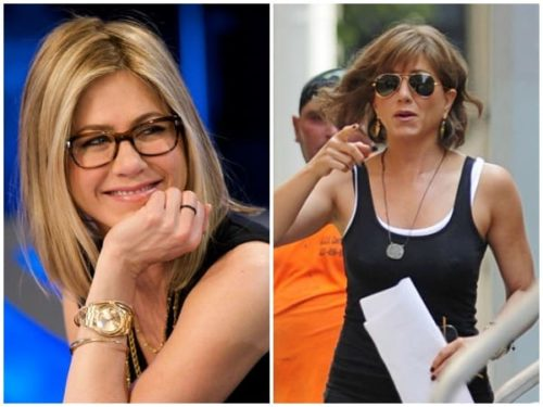 Two pictures of Jennifer Aniston wearing glasses