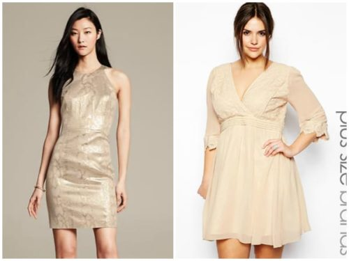 Collage of two neutral toned dresses