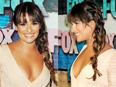 Lea Michelle with hair in a side braid