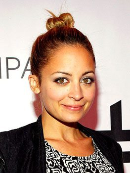 Nicole Richie with hair in a bun
