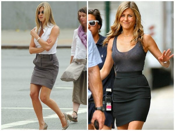 Jennifer Aniston collage of two outfits with skirts