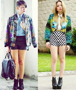 Collage of two bomber jacket outfits