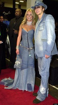 Justin Timberlake and Britney Spears wearing all denim.