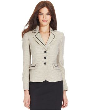 Le Suit Petite Three-Button Tweed Jacket