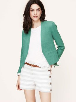 Petite Linen Cotton Dobby Open Jacket