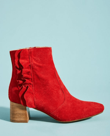 Red ankle boot with ruffle