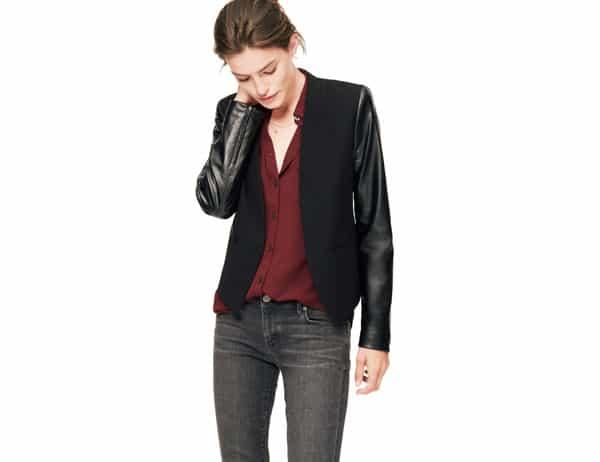 Faux Leather Sleeve Blazer