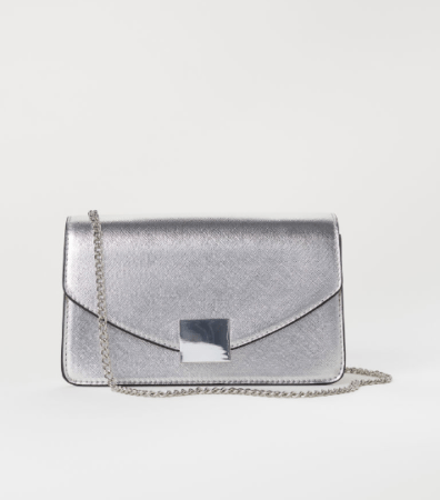Silver clutch bag with chain strap