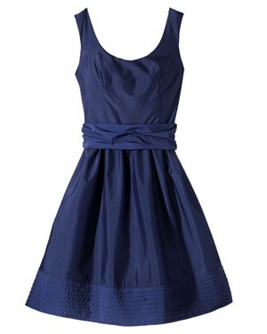 TEVOLIO Women's Taffeta Scoop Neck Dress with Removable Sash