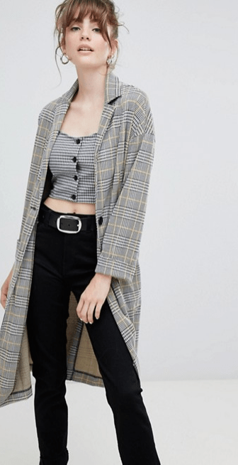 Women's duster coat with check pattern