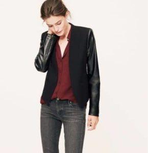 faux-leather-sleeve-blazer