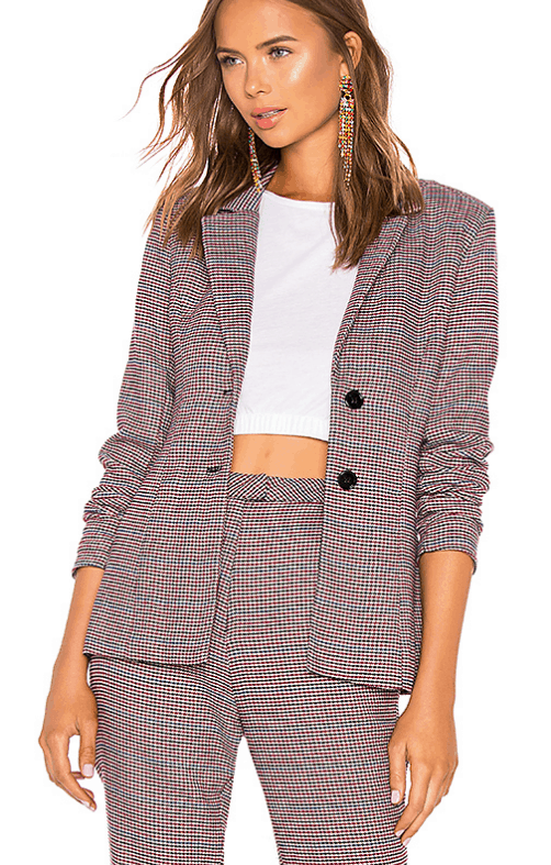 Maroon and brown checked blazer