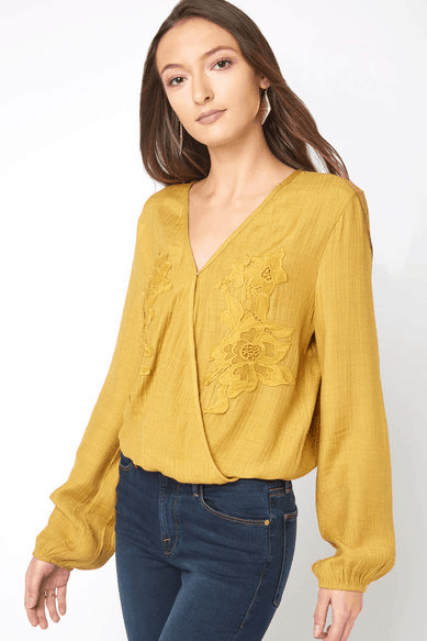 Gold embroidered surplice top