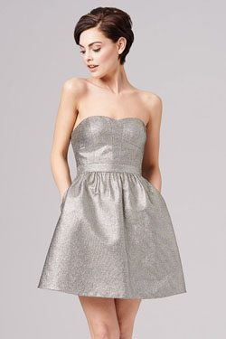 Sweetheart Metallic Jacquard Cocktail Dress