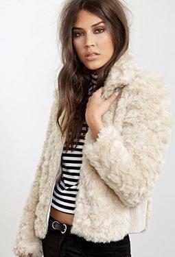 Buckled Faux Fur Jacket
