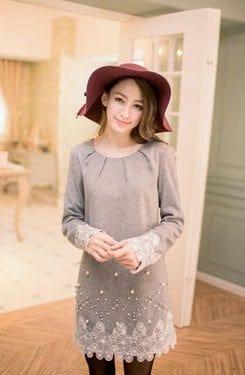 Tokyo Fashion Long-Sleeve Lace-Trim Beaded Dress
