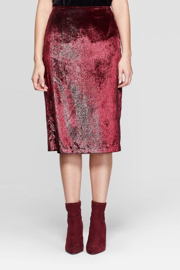Red metallic skirt