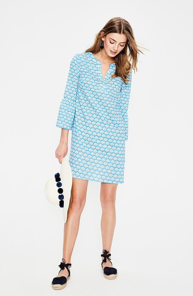 Blue and white short caftan dress