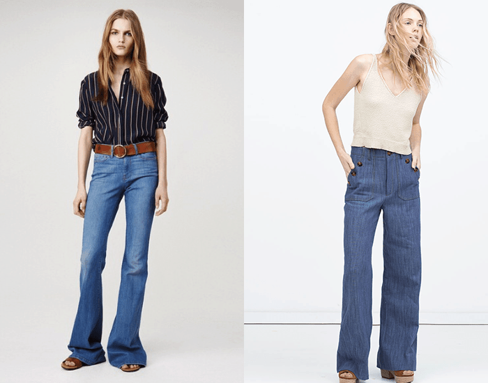 side by side of women wearing bell bottoms
