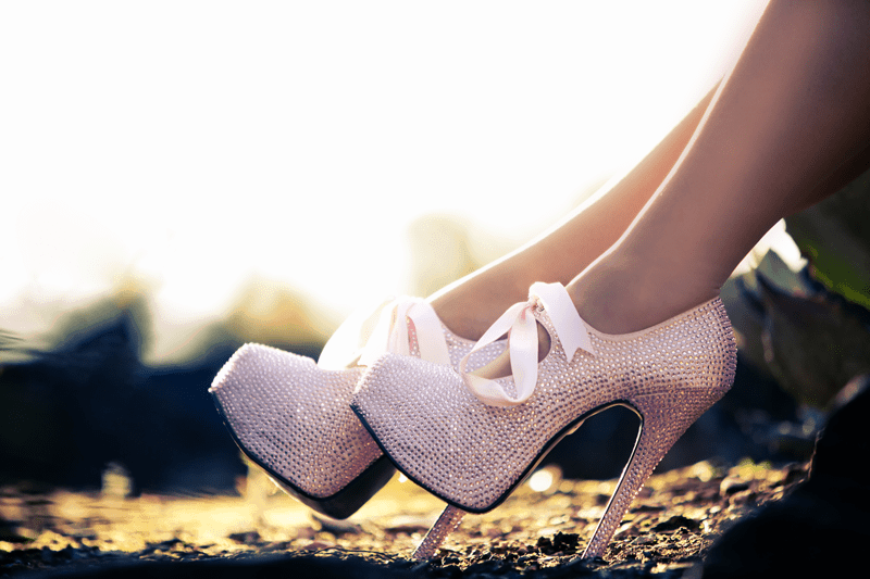 sequined pink pumps