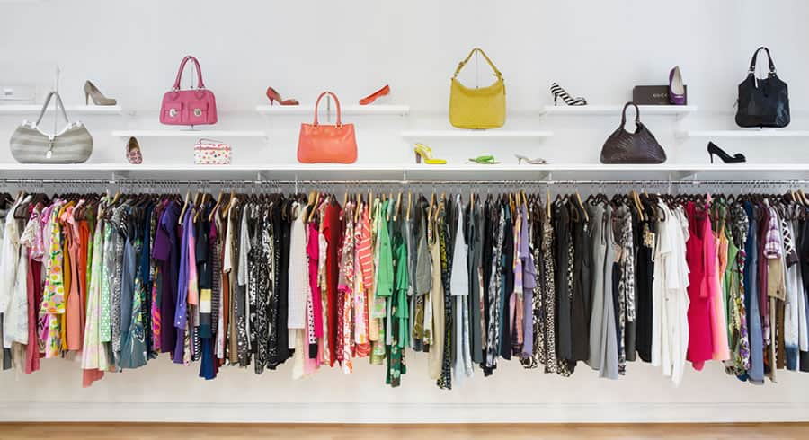 colorful clothes in a closet