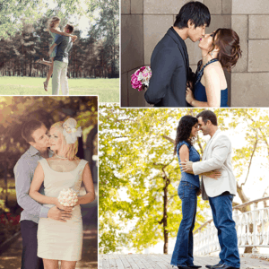 collage of engaged couples