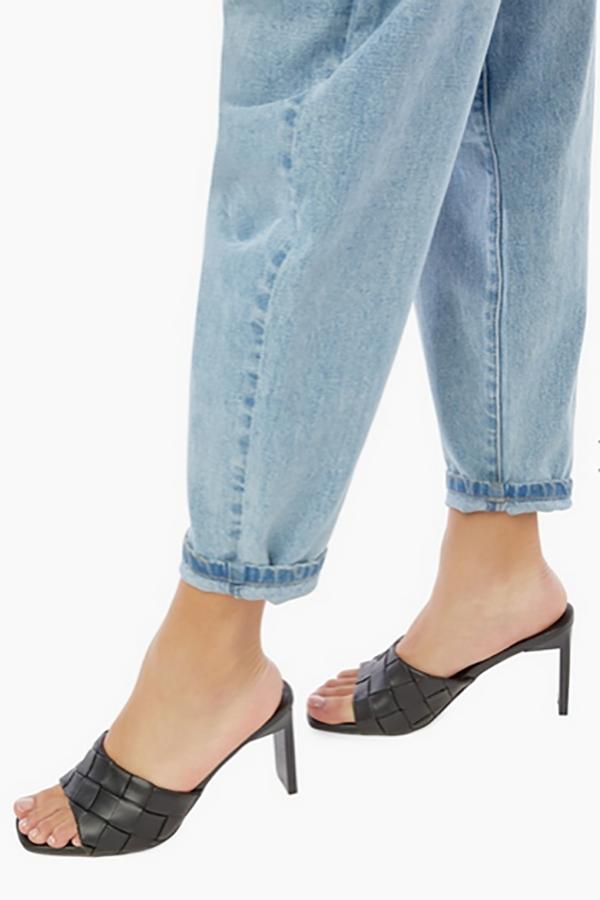 Woven heeled sandal from JustFab shoe membership club.