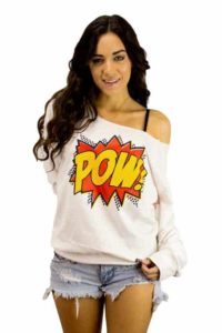416-lototees-pow-comics-kick-punch-bing-comic-girls-cute-pink-womens-off-the-shoulder-sweater-boatneck-pullover-sweatshirt-500