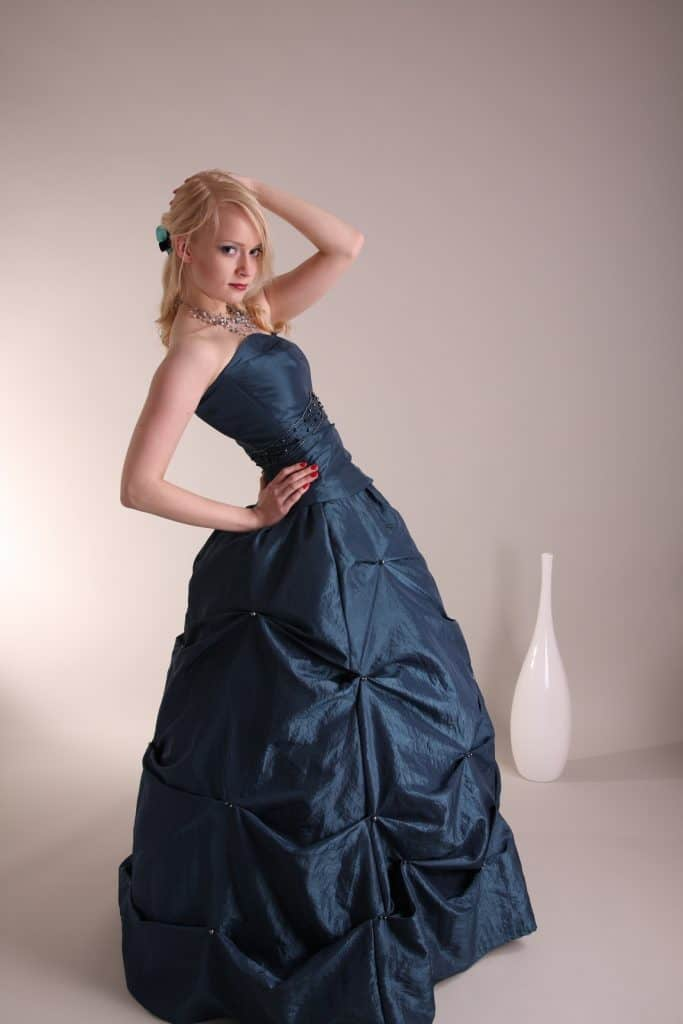 Young woman with prom dress