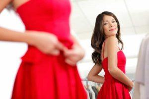 Girl trying dress