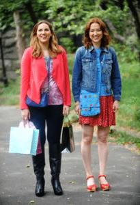 Kimmy Schmidt wearing denim jacket and bright skirt