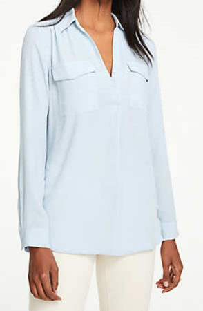 Woman wearing light blue blouse from Ann Taylor